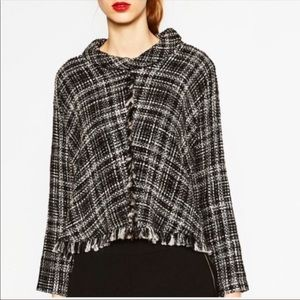 Zara Tweed Cropped Poncho Sweater Size M
